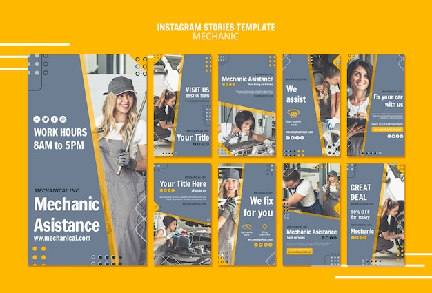 Mechanic assistance instagram stories template Free Psd