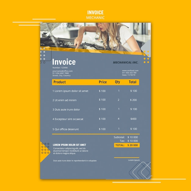 Mechanic assistance invoice template Free Psd