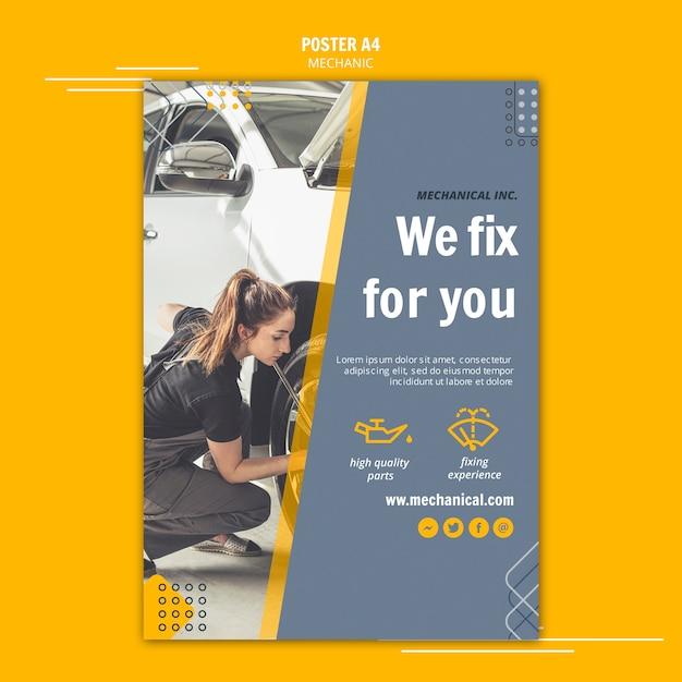 Mechanic assistance poster template Free Psd