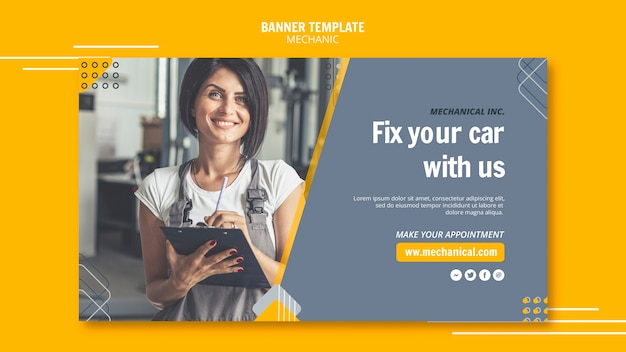 Mechanic assistance with female worker banner template Free Psd