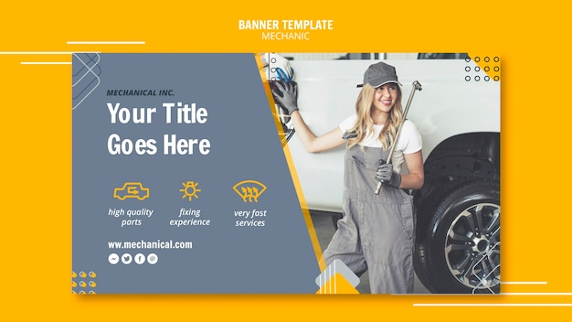 Mechanic assistance with woman worker banner template Free Psd