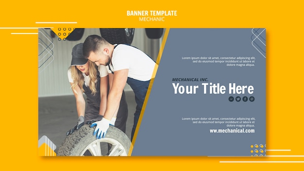 Mechanic assistance with workers banner template Free Psd