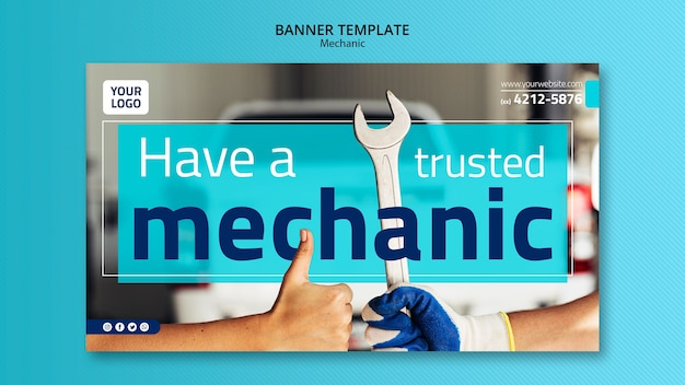 Mechanic banner template with photo Free Psd