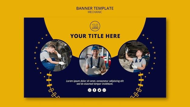 Mechanic business collage of working men banner Premium Psd