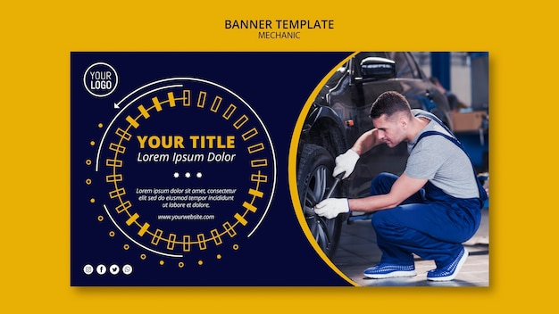 Mechanic business man fixing the car banner Free Psd