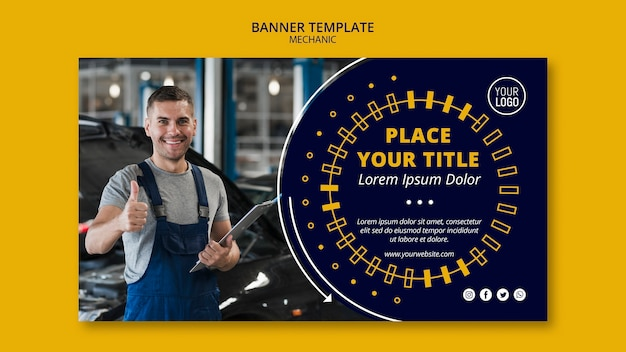 Mechanic business man with thumbs up banner Free Psd