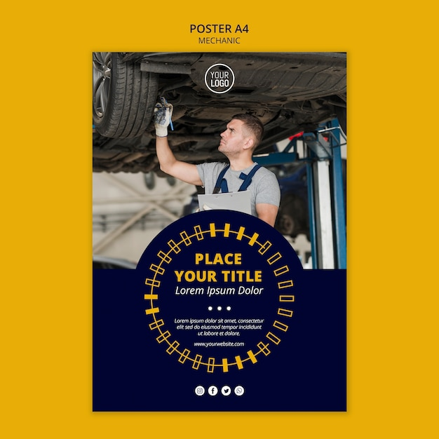 Mechanic business man working poster Free Psd