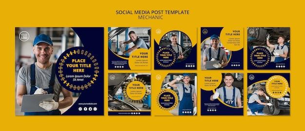 Mechanic business social media post template Premium Psd