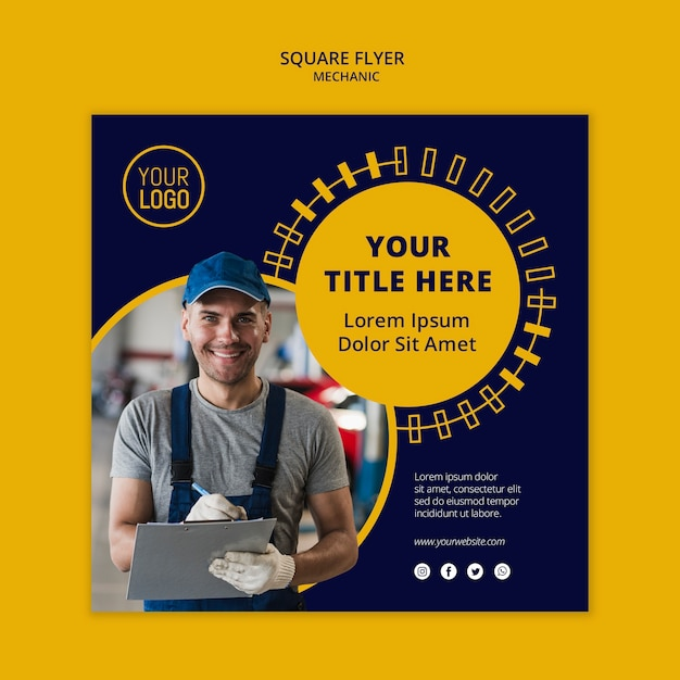 Mechanic business square flyer man in working suit Free Psd