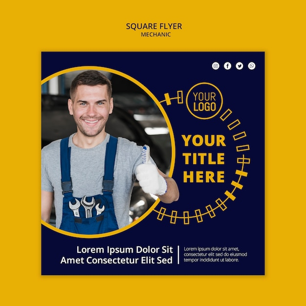 Mechanic business square flyer and smiley man Free Psd
