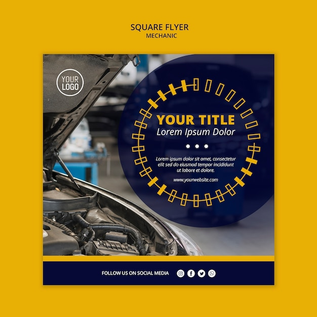 Mechanic business square flyer with car Free Psd