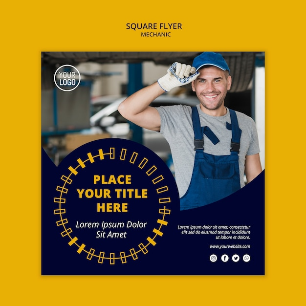 Mechanic business square flyer with man Free Psd