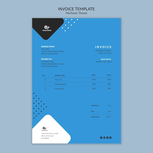 Mechanic concept invoice stationery template Free Psd