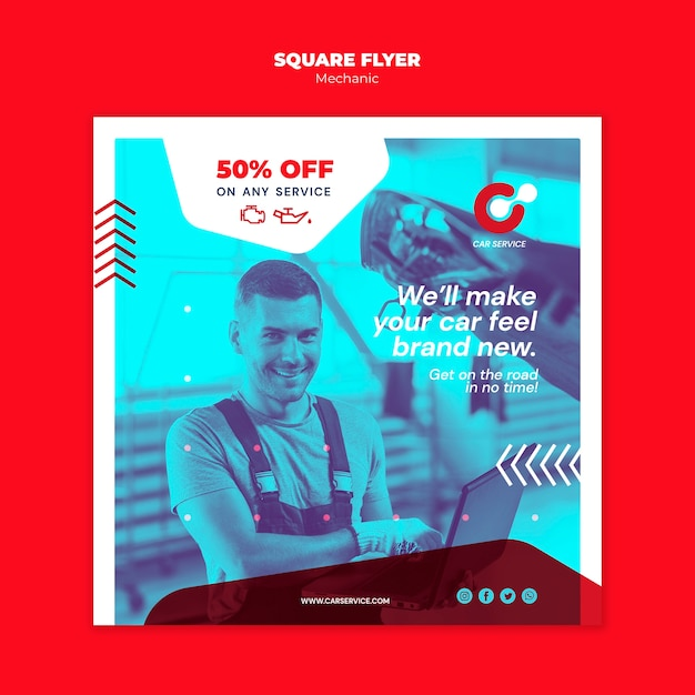 Mechanic flyer template theme Free Psd