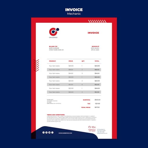 Mechanic invoice template Free Psd