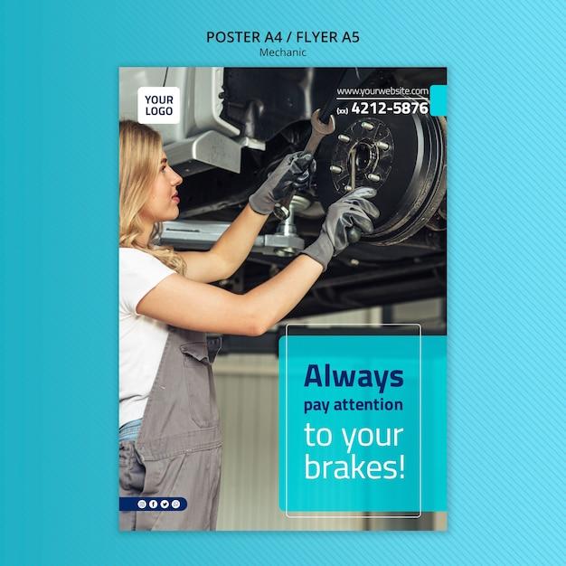 Механик постер а4 шаблон с фото Premium Psd