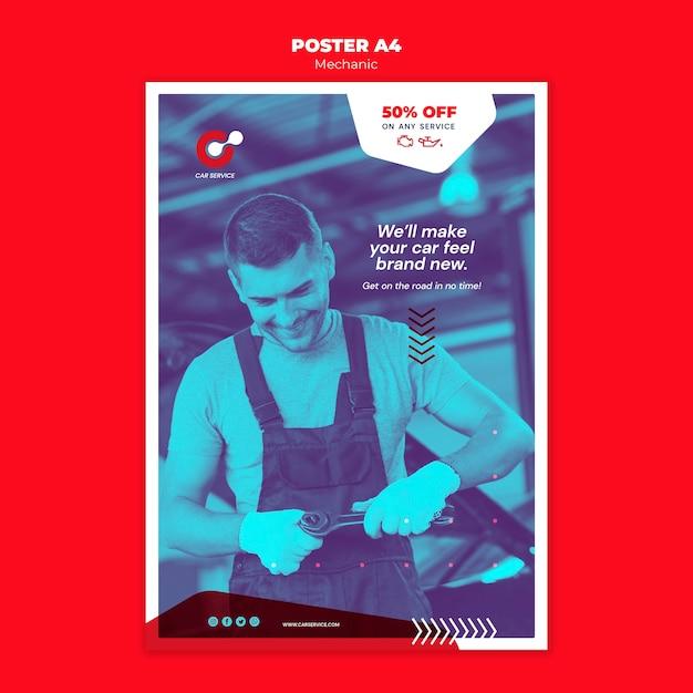 Механическая тема шаблона постера Бесплатные Psd