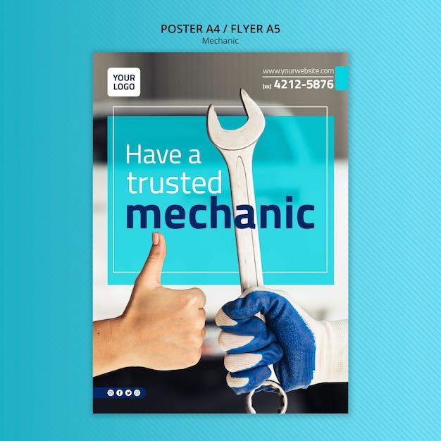 Шаблон постера механик с фото Бесплатные Psd