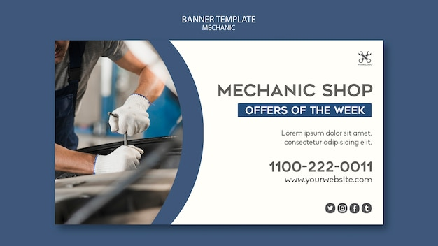 Mechanic shop template banner Free Psd