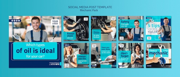 Шаблон сообщения социальных сетей механик с фото Бесплатные Psd