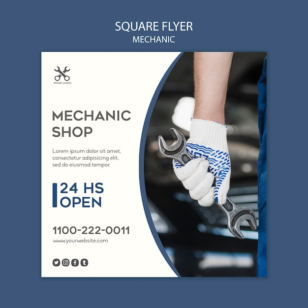 Mechanic square flyer template Free Psd