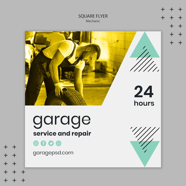 Mechanic theme for flyer template Free Psd