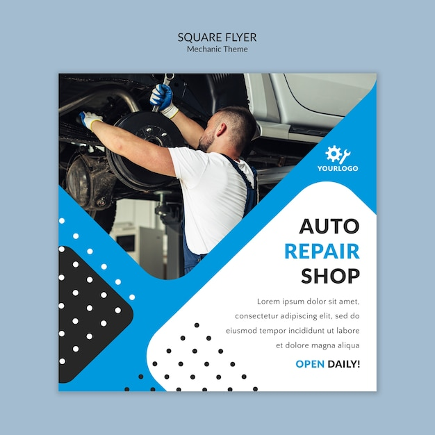 Mechanic worker in showroom square flyer Free Psd