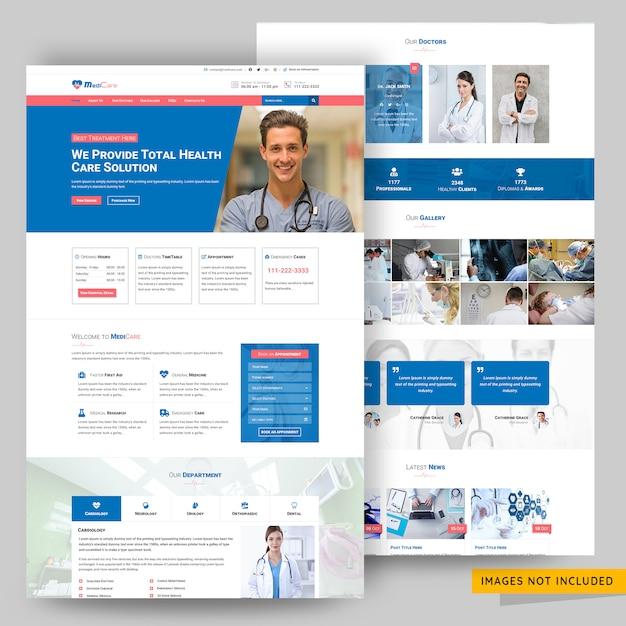 医療およびヘルスケアソリューションのwebページテンプレート Premium Psd