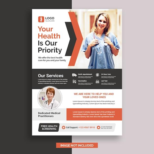 Medical flyer design template Premium Psd