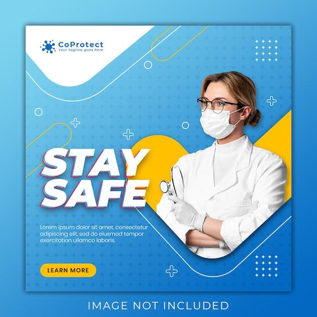 Медицинский баннер о коронавирусе, шаблон поста в социальных сетях Premium Psd