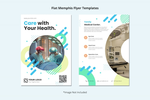 Medical health dentist hospital flyer template memphis style Premium Psd