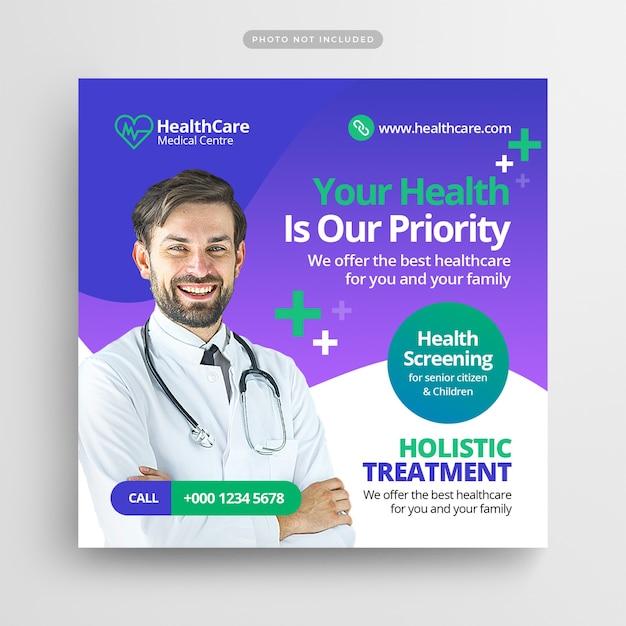 Медицинский флаер, публикация в социальных сетях и шаблон веб-баннера Premium Psd