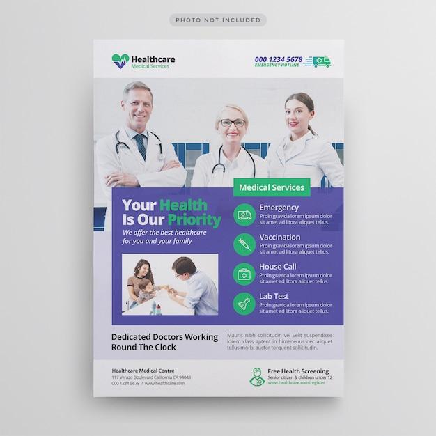 Medical healthcare flyer template Premium Psd