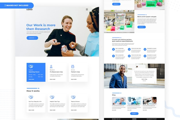 Medical and healthcare laboratory website page Premium Psd
