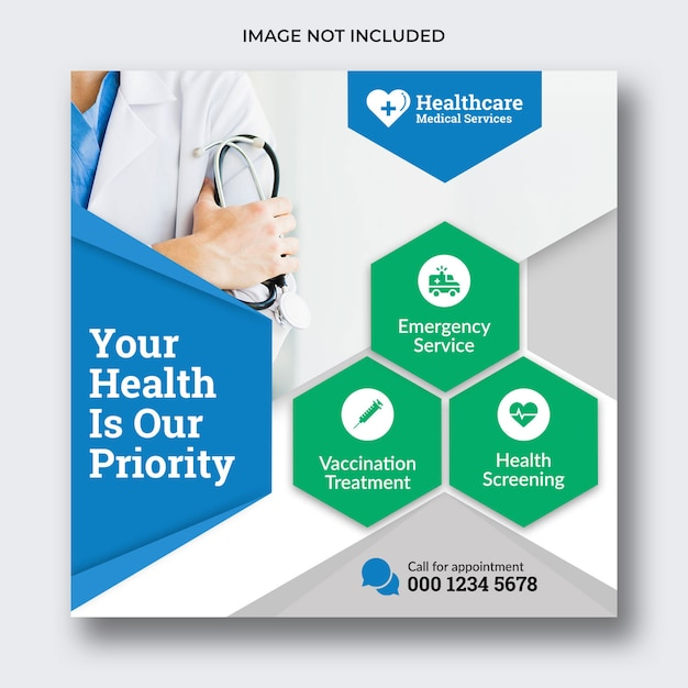 Medical social media banner or square flyer Premium Psd