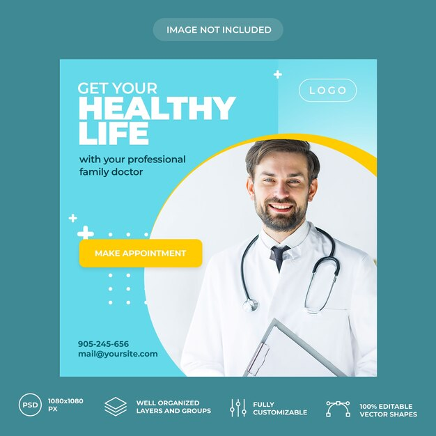 Medical social media banner template Premium Psd