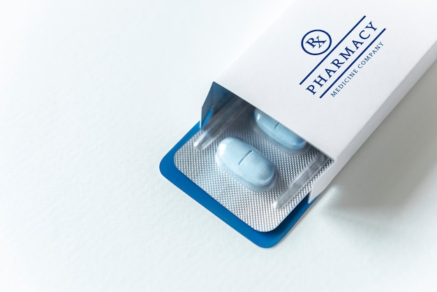 Medication branding and packaging mockup Free Psd