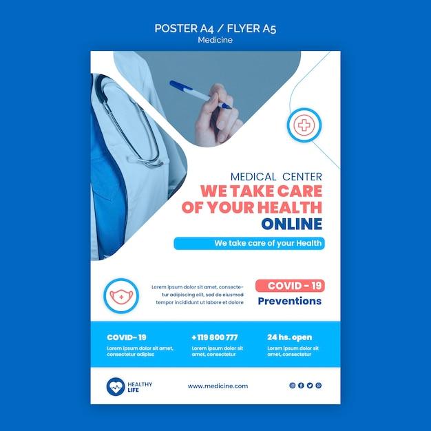Шаблон онлайн-плаката медицины Premium Psd