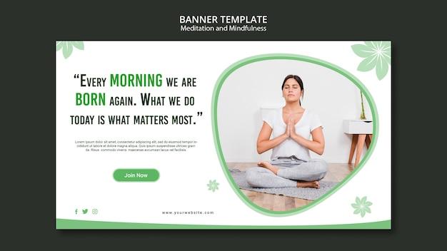Стиль баннера медитации и внимательности Бесплатные Psd