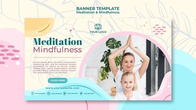 Медитация и внимательность баннерная тема Бесплатные Psd