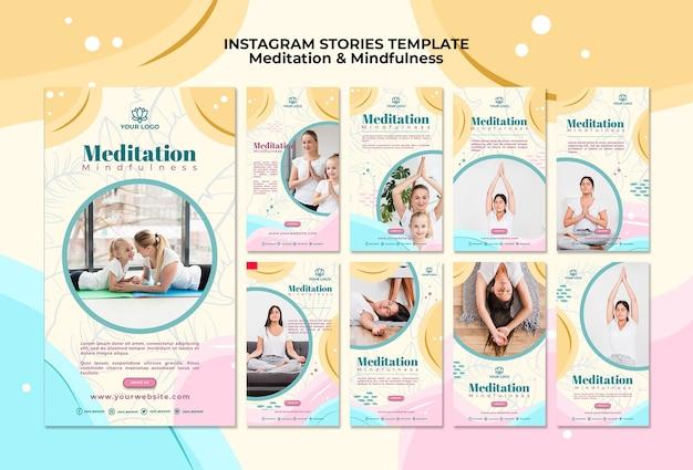 瞑想とマインドフルネスのinstagramストーリー 無料 Psd