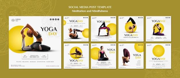 Пост медитации и осознанности в социальных сетях Бесплатные Psd