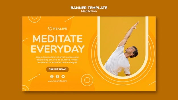 Meditation Banner Template Free Psd File
