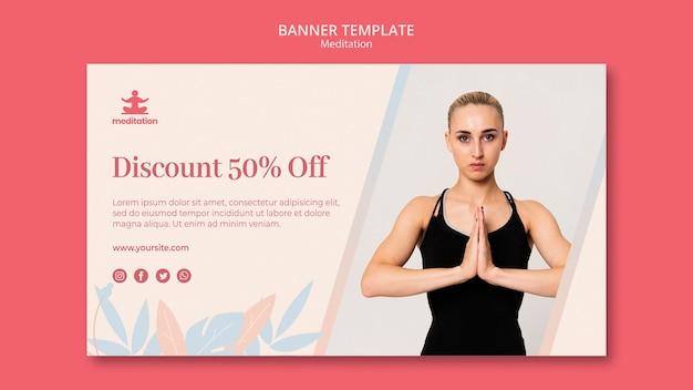 Шаблон баннера медитации классов с изображением женщины, осуществляющие Бесплатные Psd