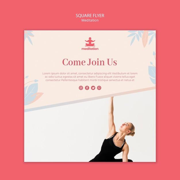 Флаер для занятий медитацией с фотографией женщины Бесплатные Psd