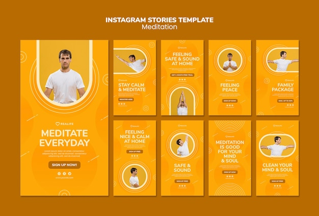 Meditation instagram stories template Free Psd