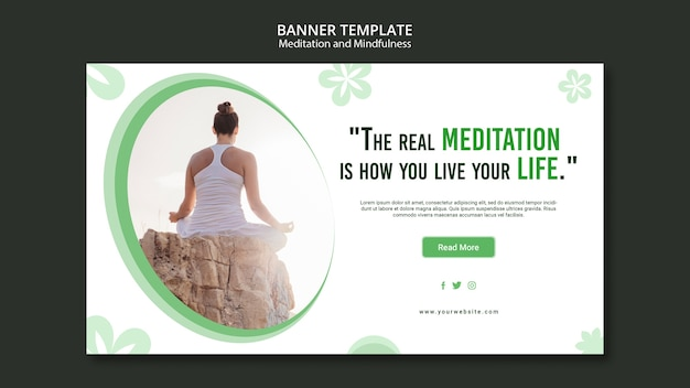 Meditation and mindfulness banner concept Free Psd