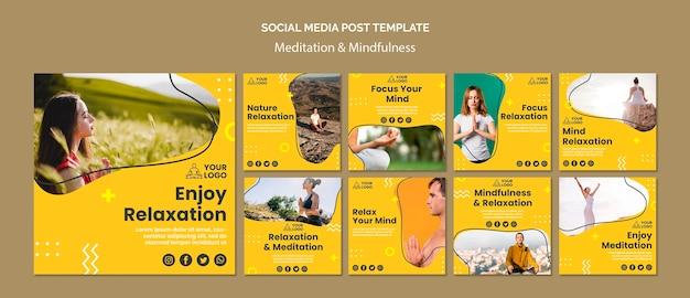 Modello di post sui social media per meditazione e consapevolezza Psd Gratuite