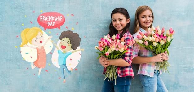 Medium shot girls holding bouquets of flowers mock-up Free Psd