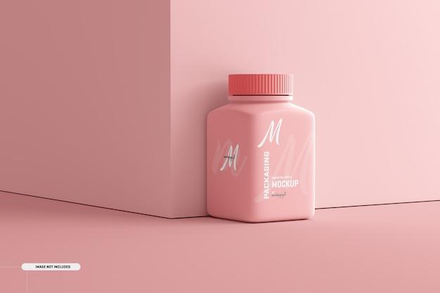 Мокап бутылки для пищевых добавок средней площади Бесплатные Psd